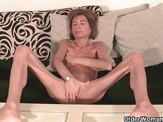 Uncompromisingly skinny granny strips off coupled with masturbates (compilation)