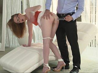 Nerdy blonde MILF Emma Fantasy opens wide for a huge cumshot