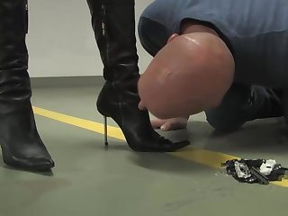 Lady Victoria Valente crushes toy cars back front of sub
