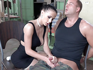 Sexy impenetrable play with dick of military