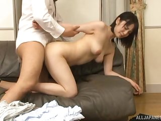 Murky Japanese babe rides a hard dig up in knee long socks
