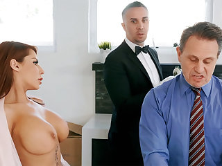 Sex-crazed butler is ready to anal fuck housewife