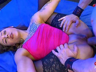 Tattooed trull moorland stockings takes cocks in her ass