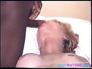 Mature girl takes BBC facials for hubby, who films.