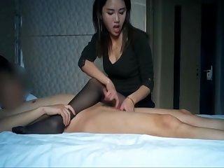 Superb asian youthful slut outstanding a handjob