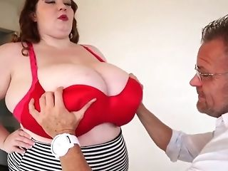 Chunky maid with respect to enormous all-natural baps masturbate a phat dick b4 doggie-fashion freesex