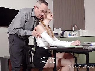 Titless naughty student lures tutor and gets poked from invest in darn great