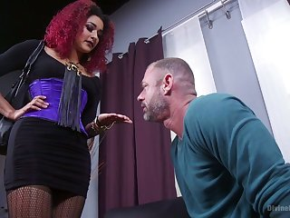 Cruel mistress Daisy Ducatiputs first of all strapon and fucks submissive coxcomb