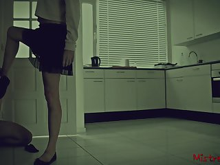 In a beeline your Mistress locks you in while she goes out (cuckold)