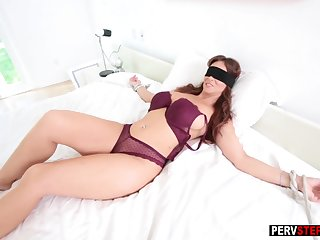 Directed up blindfolded MILF sucked a bad stepsons cock