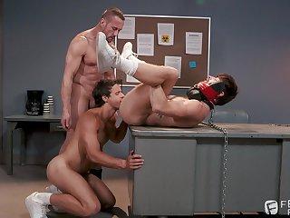 Gay bondage threesome with Nate Grimes, Drew Dixon and Myles Landon