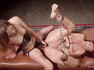 Hurtful  BDSM pussy action for two insolent lesbians