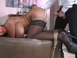 Hot ass wife Raven Constant gets a buttplug during vaginal sex