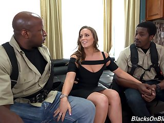 Two black guys fucks white chick with plump ass Febby Twigs