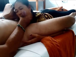 Lusty Asian unlighted takes my friend's delicious bushwa purchase her mouth for BJ