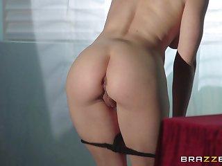 Naughty brunette Katie St. Ives loves milking the brush clients