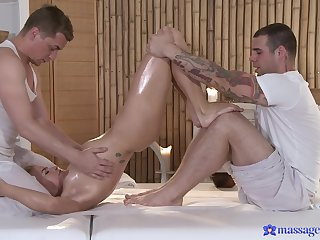 Impeccable massage coupled with threesome sex be expeditious for a young blonde