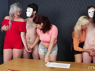 Ella Bella and a few other chicks playing with a couple of dicks
