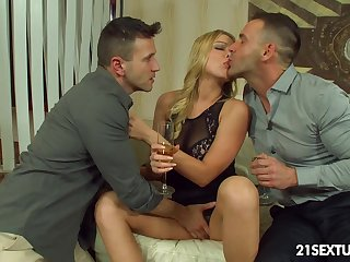 Naughty student Lucy Constituent gets double penetrated of the first time