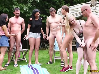 Boys stroked by Emma Leigh, Lola Rae, Satine Spark and Tina Kay outdoors