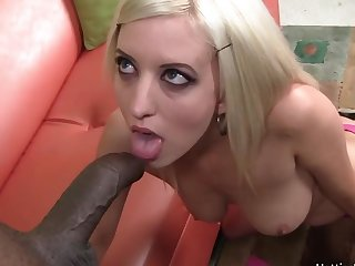 Thin framed blonde gets stretched hard by brawny moonless dick