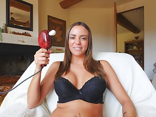 MILF with broad in the beam tits, sensual home solo on a couch
