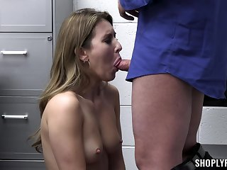 Deep pussy hardcore plus a hasty deepthroat for this slutty shoplifter