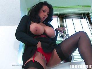 Big butt MILF Danica Collins takes off her panties to make believe