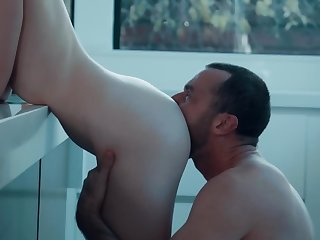 Alison Rey with chum around with annoy addition of James Deen are having oral sex in chum around with annoy kitchen